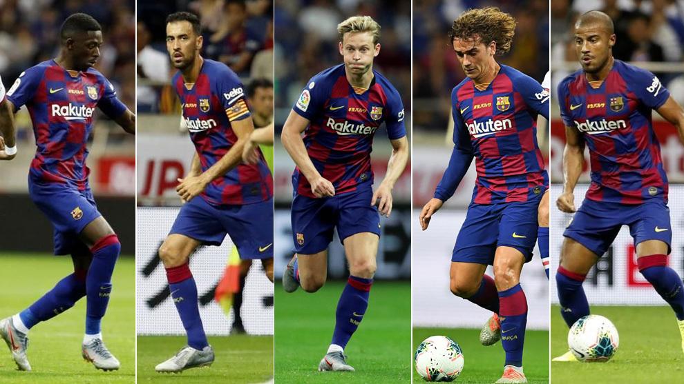 Dembélé, Busquets, De Jong, Griezmann y Rafinha, contra el Chelsea