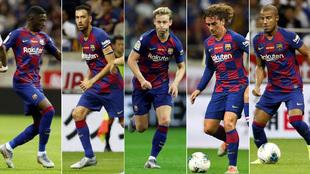 Dembele, Busquets, De Jong, Griezmann and Rafinha against Chelsea