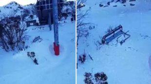 El esquiador cayó de una altura de unos 10 metros, al desprenderse un...