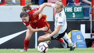 Eva Navarro en el partido del Europeo sub-19 entre España y Alemania