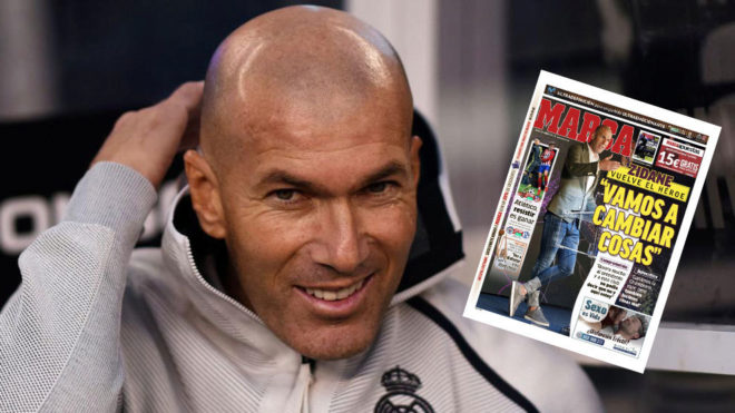Zinedine Zidane before the match against Atletico Madrid.