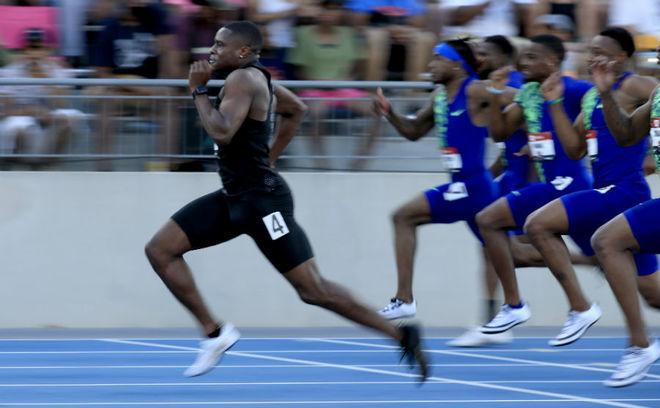Christian Coleman, durante la final de los 100 metros en los 'trials'...
