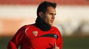 Armenteros, durante un entrenamiento en su etapa con el Sevilla