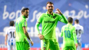 Borja Mayoral celebra un gol ante la Real Sociedad.