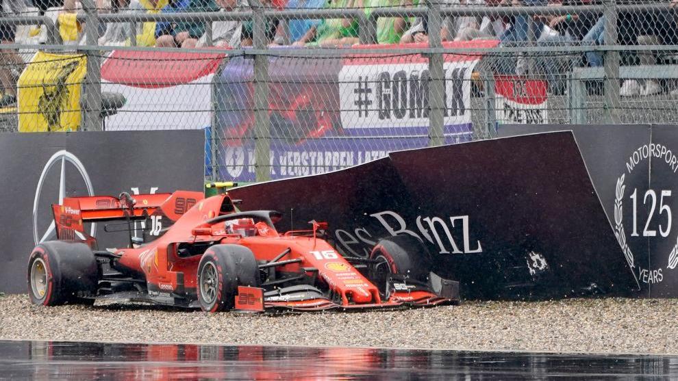 Leclerc, tras salirse de pista en Alemania.