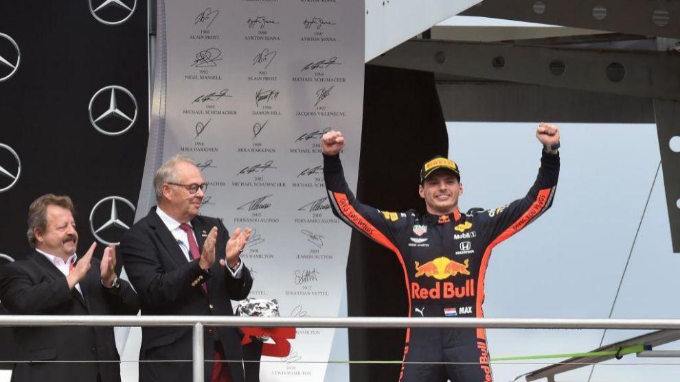 Max Verstappen celebrando la victoria en Alemania.