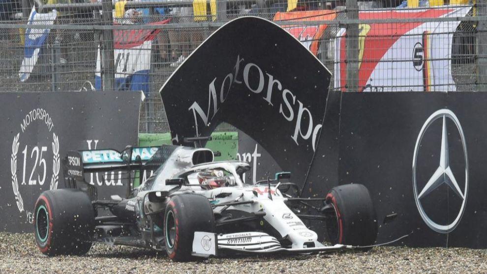 Momento del incidente de Lewis Hamilton en Hockenheim.