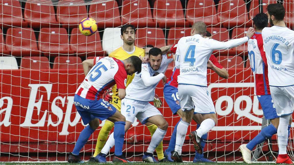 Gol del Deportivo frente al Sporting de Gijón (La Liga 123 2018-19)