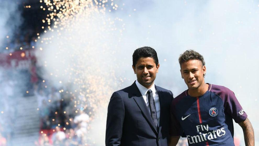Nasser Al-Khelaifi and Neymar.