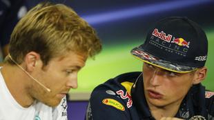 Rosberg y Verstappen, en 2016.