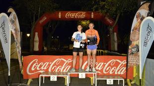 Irene Novillo y Sergio Lozano, en el podio