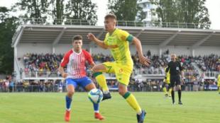 Nantes y Sporting durante el partido de esta tarde