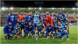 El Deportivo posa con el trofeo Ciudad de Pontevedra