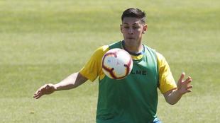 Óscar Duarte, en un entrenamiento con el Espanyol.