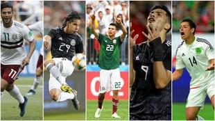 Carlos Vela, Diego Lainez, Hirving Lozano, Raúl Jiménez y Chicharito...