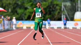 Puseletso Mabote, en los Mundiales Junior de atletismo paralímpico.