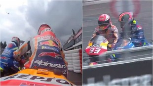 The incident in question between Alex Rins and Marc Marquez.