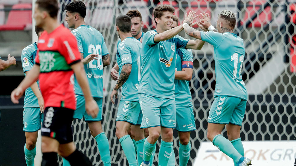 Marc Cardona celebra el gol de la victoria de Osasuna