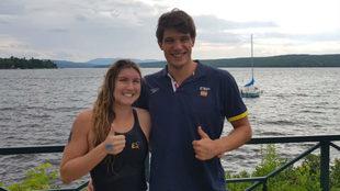Paula Ruiz y Guillem Pujol, tras nadar en Lac-Mégantic, Canadá