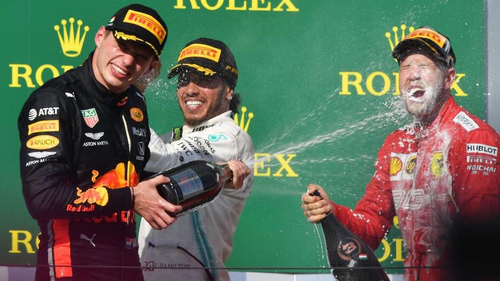 La ceremonia de podio en Hungaroring.