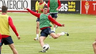 Borja López, durante su primera época con el sporting