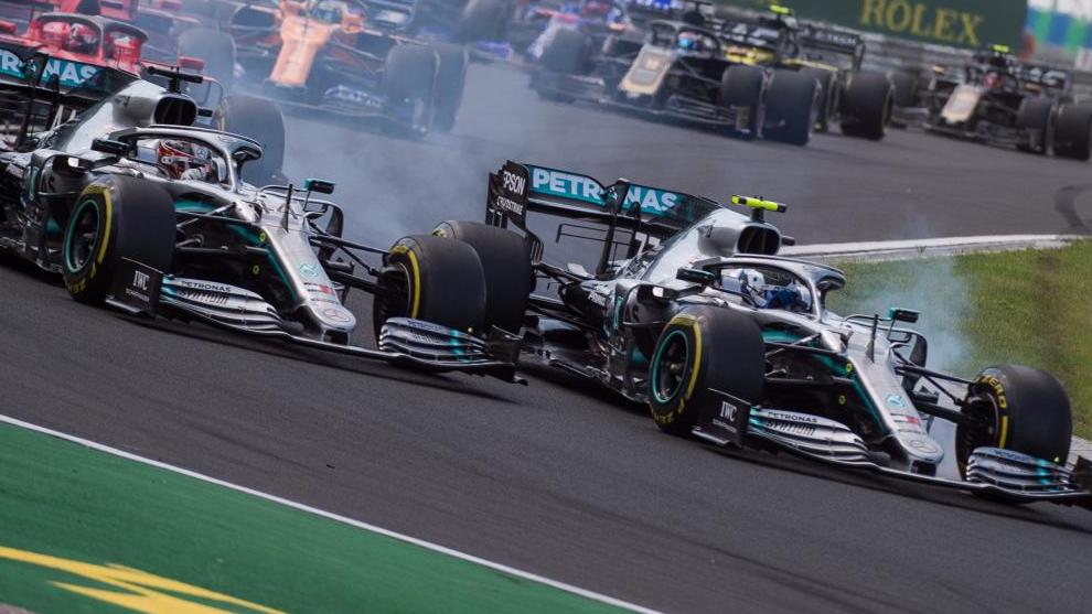 Hamilton y Bottas, en Hungaroring.