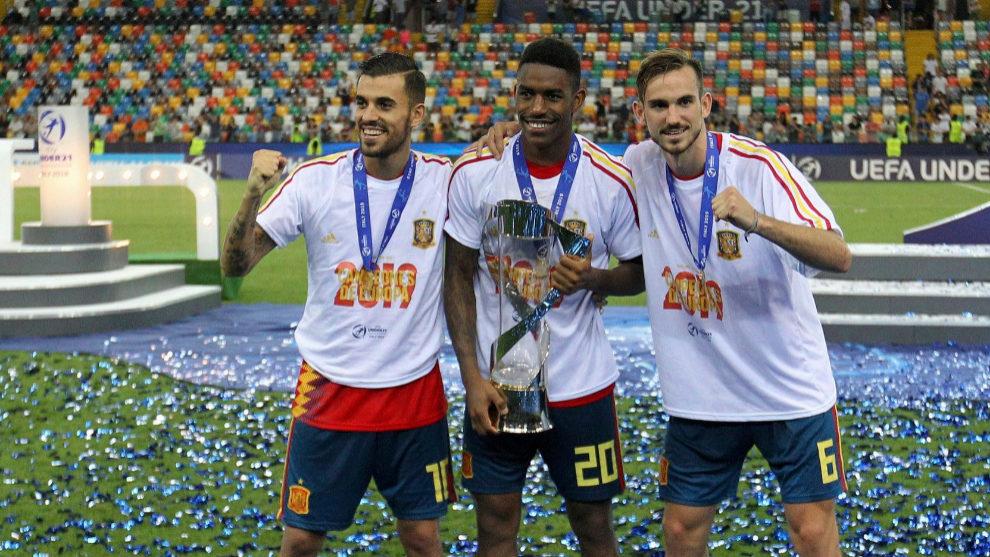 Ceballos, Junior and Fabian after winning the European Under-21...