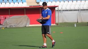 Pedro Emanuel, durante su primer entrenamiento al frente del Almería