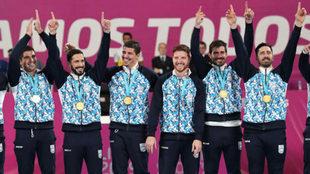 La selección argentina celebra el oro panamericano en Lima /