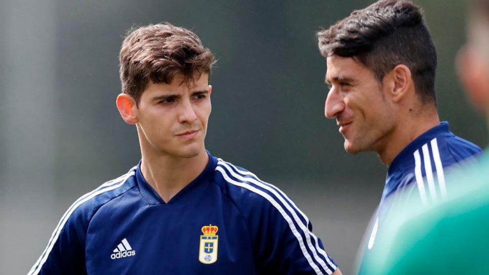 Riki Rodríguez, junto a Saúl Berjón, en la sesión de entrenamiento...