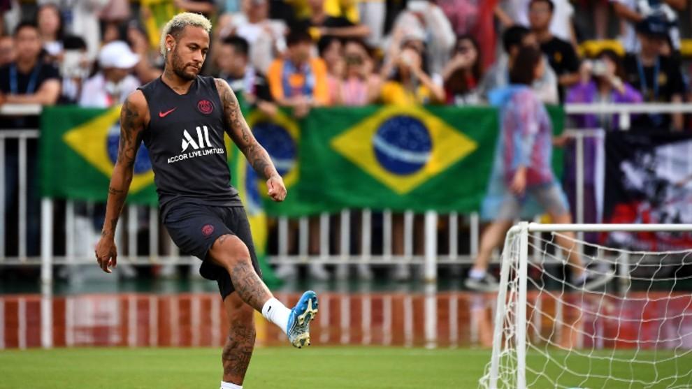 Neymar durante la pretemporada con el PSG