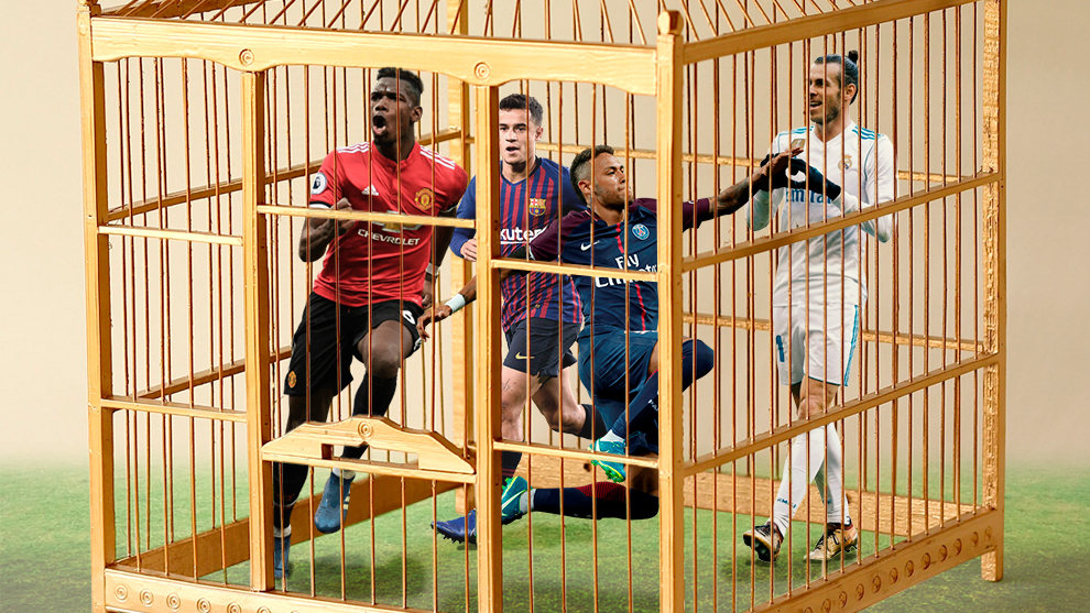 Neymar, Pogba, Coutinho and Bale in a golden cage.