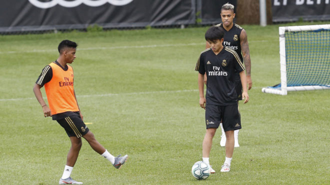 Kubo and Rodrygo in first-team training.