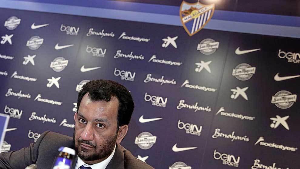 Al Thani, durante una rueda de prensa en La Rosaleda