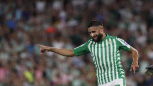 Fekir celebra el 1-0 que le hizo a la UD Las Palmas.