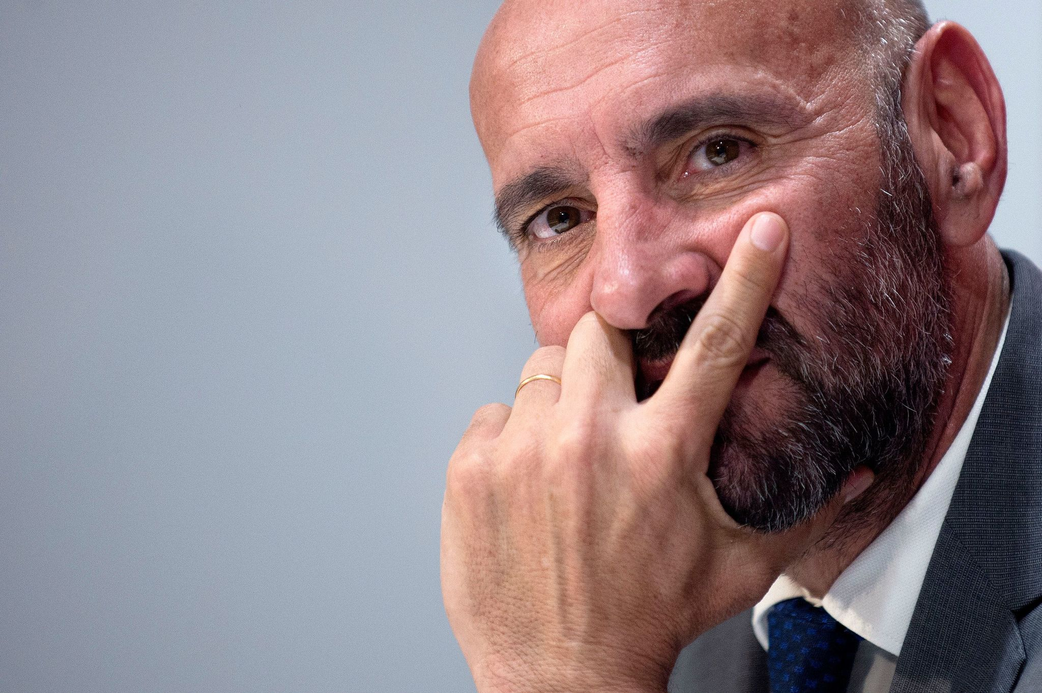 Sevilla FCs director of football, <HIT>Monchi</HIT>, attends a press conference to present French defender Jules Kounde as new player the Spanish club at the Ramon Sanchez Pizjuan stadium in Seville on July 26, 2019. (Photo by JORGE GUERRERO / AFP)