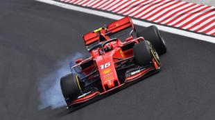 El Ferrari de Leclerc, en Hungaroring.