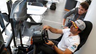Carlos Sainz y Norris, trabajando en el simulador.