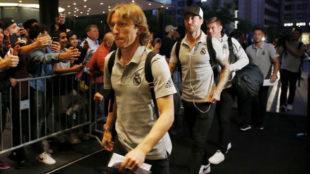 Luka Modric, durante un viaje con el Real Madrid.