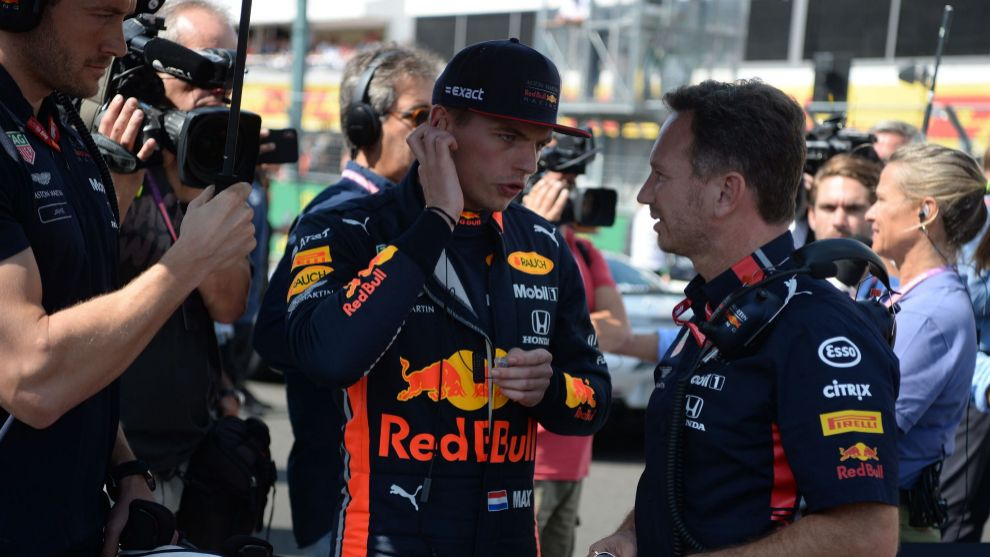 Max Verstappen y Christian Horner antes del GP de Hungría.
