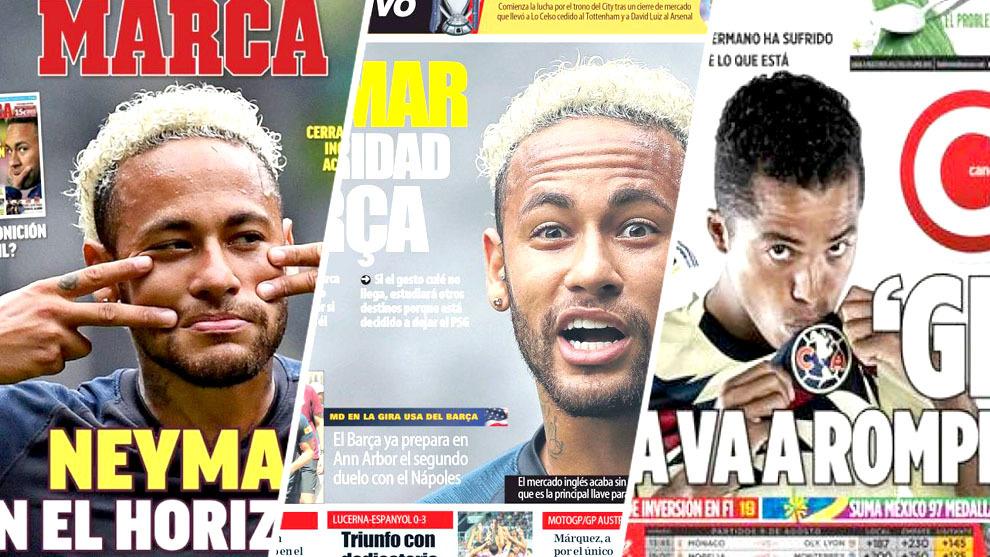 Futuro de Neymar y Gio, acaparan las portadas del día