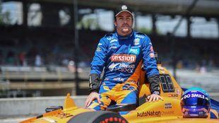 Fernando Alonso, en la clasificación de la Indycar 500 de 2019.