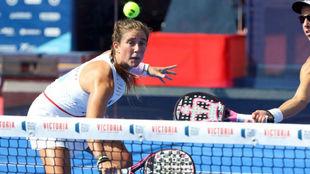 Marta Ortega durante su partido de cuartos de final en Mijas.