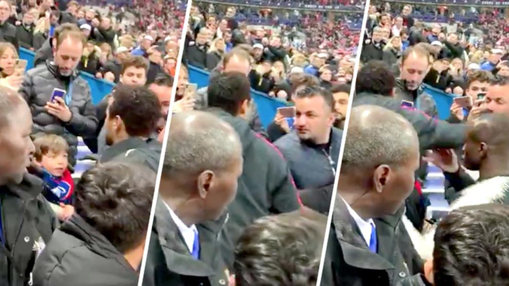 Momento cuando Neymar agrede al seguidor del Rennes.