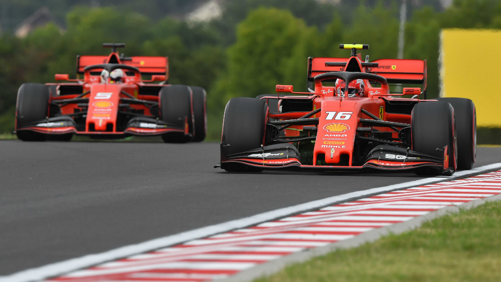 Vettel y Leclerc, en Hungaroring.