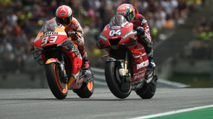 Marc Marquez and Andrea Dovizioso alongside one another.
