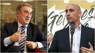 Javier Lozano, presidente de la LNFS, y Luis Rubiales, presidente de...