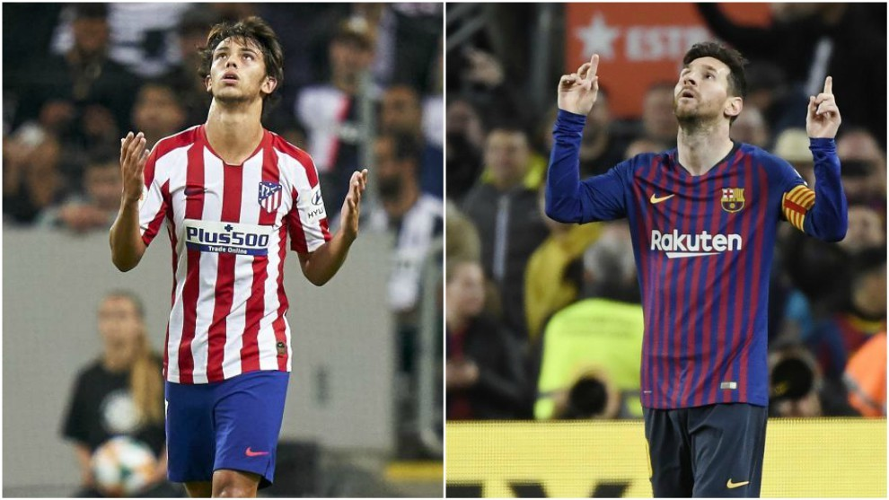 Joao Felix and Lionel Messi during matches for Atletico Madrid and...