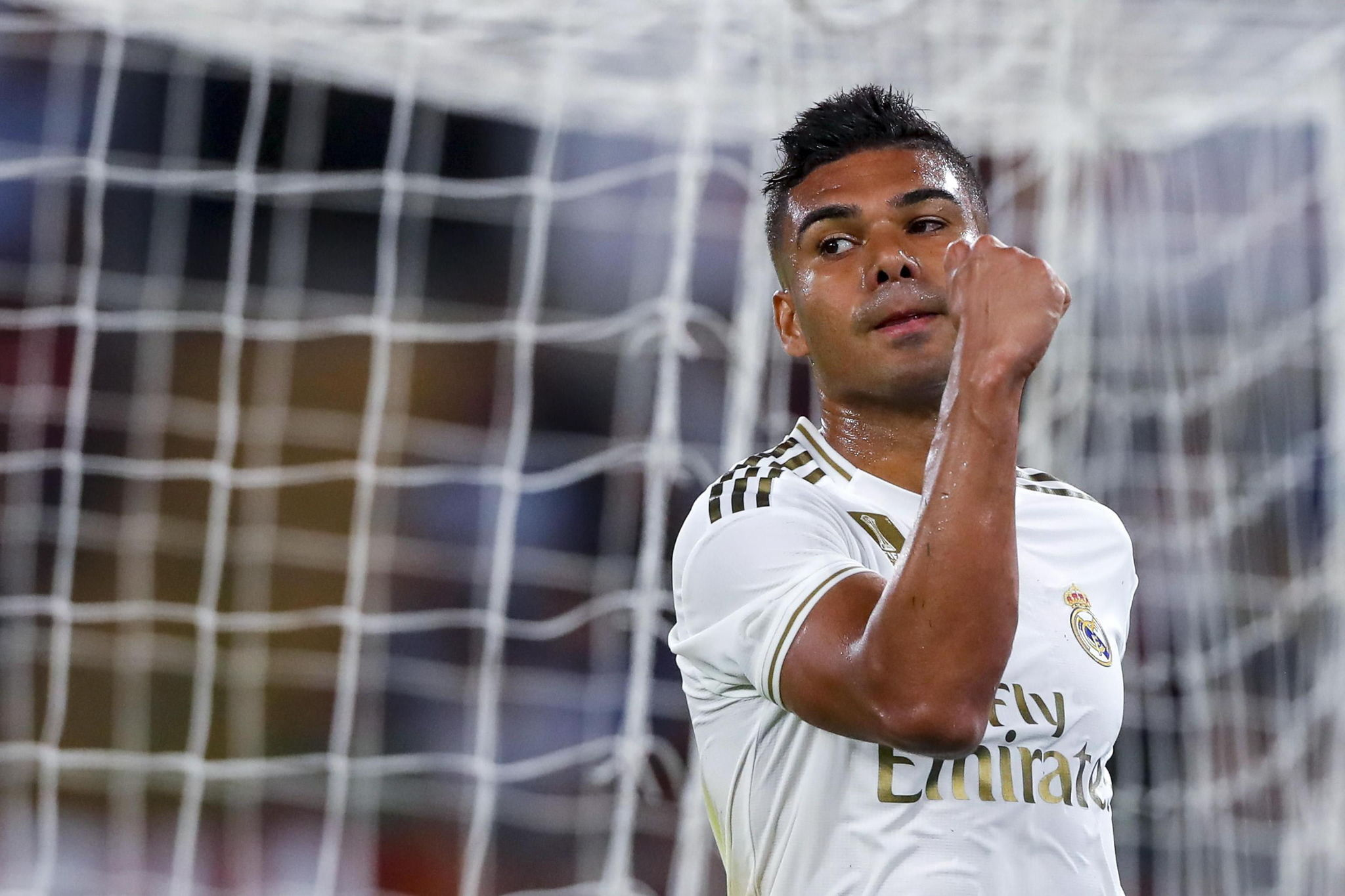 Rome (Italy), 07/08/2019.- Real Madrids <HIT>Casemiro</HIT> jubilates after scoring the 1-2 goal during the international friendly soccer match AS Roma vs Real Madrid CF at Olimpico stadium in Rome, Italy, 11 August 2019. (Futbol, Amistoso, Italia, Roma) EFE/EPA/ANGELO CARCONI