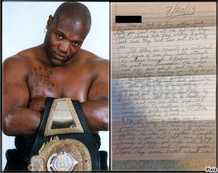 La carta del boxeador Clifford Etienne desde la cárcel a la que fue...